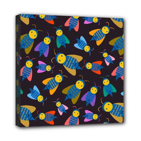 Bees Animal Insect Pattern Mini Canvas 8  X 8