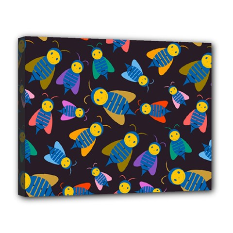 Bees Animal Insect Pattern Canvas 14  x 11