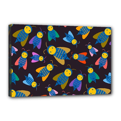 Bees Animal Insect Pattern Canvas 18  x 12