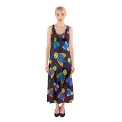 Bees Animal Insect Pattern Sleeveless Maxi Dress