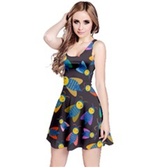 Bees Animal Insect Pattern Reversible Sleeveless Dress