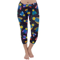 Bees Animal Insect Pattern Capri Winter Leggings
