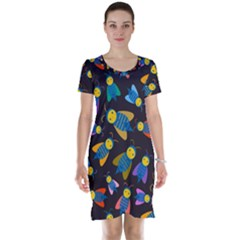 Bees Animal Insect Pattern Short Sleeve Nightdress