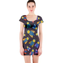 Bees Animal Insect Pattern Short Sleeve Bodycon Dress