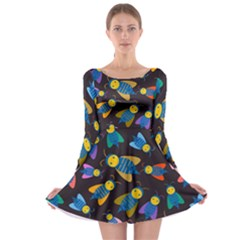 Bees Animal Insect Pattern Long Sleeve Skater Dress