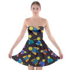 Bees Animal Insect Pattern Strapless Bra Top Dress