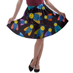 Bees Animal Insect Pattern A-line Skater Skirt