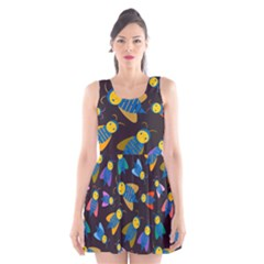 Bees Animal Insect Pattern Scoop Neck Skater Dress