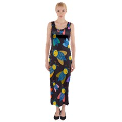 Bees Animal Insect Pattern Fitted Maxi Dress