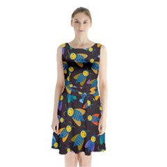 Bees Animal Insect Pattern Sleeveless Chiffon Waist Tie Dress