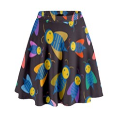 Bees Animal Insect Pattern High Waist Skirt