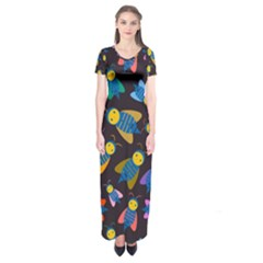 Bees Animal Insect Pattern Short Sleeve Maxi Dress