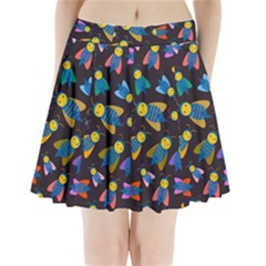 Bees Animal Insect Pattern Pleated Mini Skirt