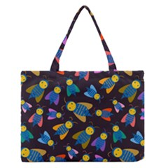Bees Animal Insect Pattern Medium Zipper Tote Bag