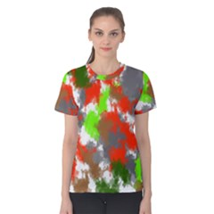 Abstract Watercolor Background Wallpaper Of Splashes  Red Hues Women s Cotton Tee