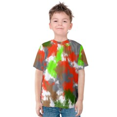Abstract Watercolor Background Wallpaper Of Splashes  Red Hues Kids  Cotton Tee