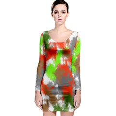 Abstract Watercolor Background Wallpaper Of Splashes  Red Hues Long Sleeve Bodycon Dress