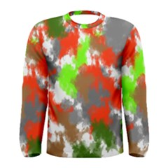 Abstract Watercolor Background Wallpaper Of Splashes  Red Hues Men s Long Sleeve Tee