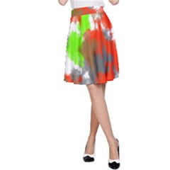 Abstract Watercolor Background Wallpaper Of Splashes  Red Hues A-Line Skirt