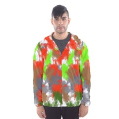 Abstract Watercolor Background Wallpaper Of Splashes  Red Hues Hooded Wind Breaker (men)
