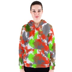 Abstract Watercolor Background Wallpaper Of Splashes  Red Hues Women s Zipper Hoodie