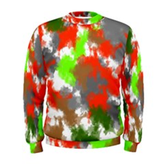 Abstract Watercolor Background Wallpaper Of Splashes  Red Hues Men s Sweatshirt