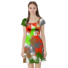 Abstract Watercolor Background Wallpaper Of Splashes  Red Hues Short Sleeve Skater Dress