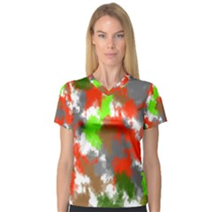 Abstract Watercolor Background Wallpaper Of Splashes  Red Hues Women s V Neck Sport Mesh Tee