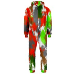 Abstract Watercolor Background Wallpaper Of Splashes  Red Hues Hooded Jumpsuit (men)