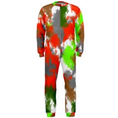 Abstract Watercolor Background Wallpaper Of Splashes  Red Hues Onepiece Jumpsuit (men)