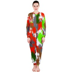 Abstract Watercolor Background Wallpaper Of Splashes  Red Hues OnePiece Jumpsuit (Ladies)