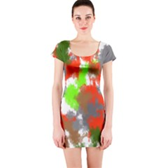 Abstract Watercolor Background Wallpaper Of Splashes  Red Hues Short Sleeve Bodycon Dress