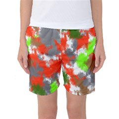 Abstract Watercolor Background Wallpaper Of Splashes  Red Hues Women s Basketball Shorts