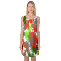 Abstract Watercolor Background Wallpaper Of Splashes  Red Hues Sleeveless Satin Nightdress