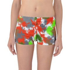 Abstract Watercolor Background Wallpaper Of Splashes  Red Hues Boyleg Bikini Bottoms