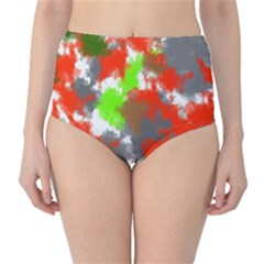 Abstract Watercolor Background Wallpaper Of Splashes  Red Hues High-Waist Bikini Bottoms