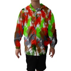 Abstract Watercolor Background Wallpaper Of Splashes  Red Hues Hooded Wind Breaker (kids)