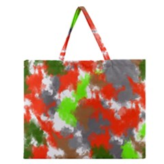 Abstract Watercolor Background Wallpaper Of Splashes  Red Hues Zipper Large Tote Bag