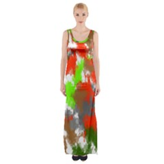 Abstract Watercolor Background Wallpaper Of Splashes  Red Hues Maxi Thigh Split Dress