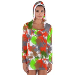 Abstract Watercolor Background Wallpaper Of Splashes  Red Hues Women s Long Sleeve Hooded T-shirt
