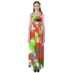 Abstract Watercolor Background Wallpaper Of Splashes  Red Hues Empire Waist Maxi Dress