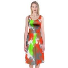 Abstract Watercolor Background Wallpaper Of Splashes  Red Hues Midi Sleeveless Dress