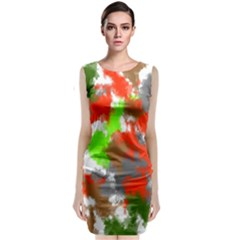 Abstract Watercolor Background Wallpaper Of Splashes  Red Hues Classic Sleeveless Midi Dress