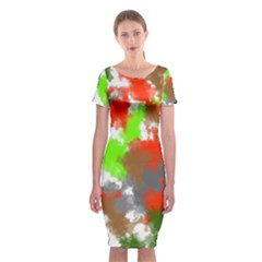 Abstract Watercolor Background Wallpaper Of Splashes  Red Hues Classic Short Sleeve Midi Dress