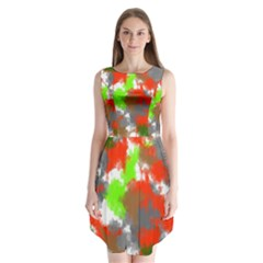 Abstract Watercolor Background Wallpaper Of Splashes  Red Hues Sleeveless Chiffon Dress