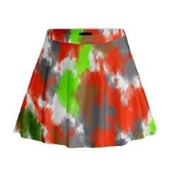 Abstract Watercolor Background Wallpaper Of Splashes  Red Hues Mini Flare Skirt
