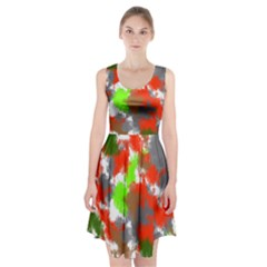Abstract Watercolor Background Wallpaper Of Splashes  Red Hues Racerback Midi Dress