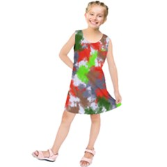 Abstract Watercolor Background Wallpaper Of Splashes  Red Hues Kids  Tunic Dress