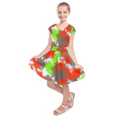 Abstract Watercolor Background Wallpaper Of Splashes  Red Hues Kids  Short Sleeve Dress