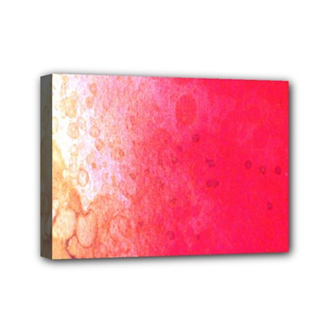 Abstract Red And Gold Ink Blot Gradient Mini Canvas 7  x 5